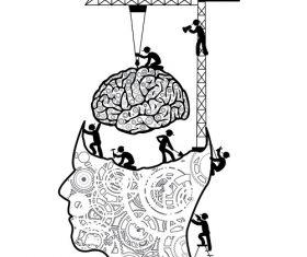 Mind Working Construction Cartoon Icon Vector