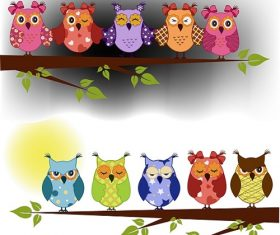 Morning and Evening Colorful Owl Sleeping and Awake Cartoon Background Vector