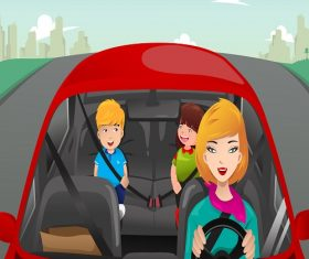 Mother Driving with her children Cartoon Background Vector
