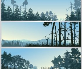 Mountain Scenery Silhouette Background Vector