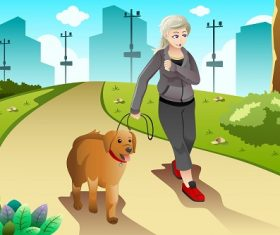 Old Lady Exercising with her Dog Outdoor Background Cartoon Vector