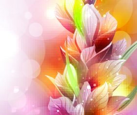 Orange purple yellow sparkling flower background vector