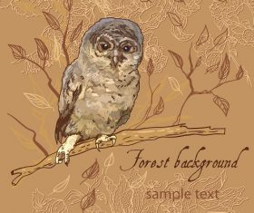 Owl Branch Brown background Vector
