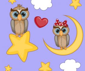 Owl Lovers Sitting in Stars and Moon Cartoon Background Vector