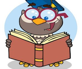 Owl Teacher Cartoon Character With Graduate Cap Reading A Book Background Vector