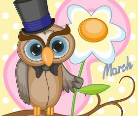 Owl in Hat holding a Big Flower Cartoon Background Vector