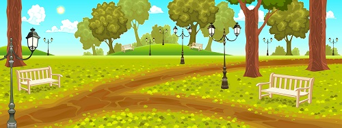 Park with benches and street lamps cartoon vector