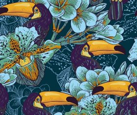 Pecan birds and leaves background Vector