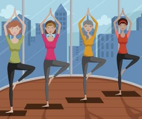 People Doing Yoga in a Yoga Studio Cartoon Background Vector