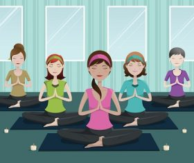 People Doing Yoga in the Studio Cartoon Background Vector