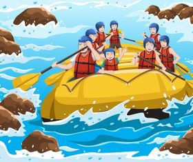 People Enjoying Water Rafting Cartoon Background Vector