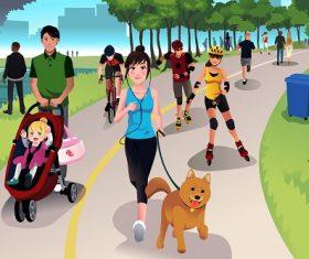 People Doing Different Activities in the Park Cartoon Background Vector