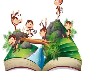 Pop-up Book with Monkeys  in the Jungle Playing Cartoon Background Vector