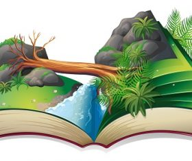Popup Book of a Stream Cartoon Background Vector