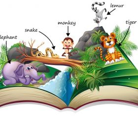 Popup Story Book with Many Animals Cartoon Background Vector