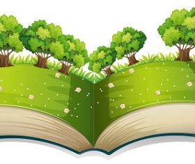 Popup book with a field and trees Cartoon Background Vector