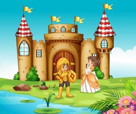 Princess and Knigt Outside Castle Cartoon Background Vector