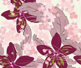 Purple Flower Seamless Pattern Graphic Vector