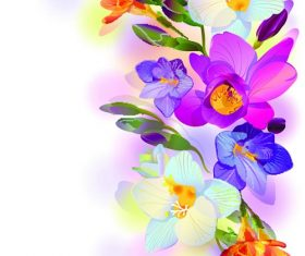 Purple floral design right side background vector