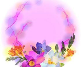 Purple floral wreath background vector