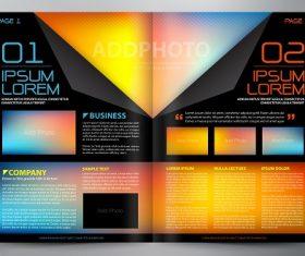 Rainbow color gradient black brochure template vector