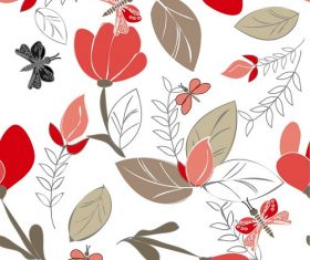 Red Flower Seamless Pattern Background Vector