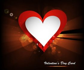 Red White Heart Valentines Day Card Background Vector