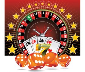 Roulette lucky 7 full house dice Vector