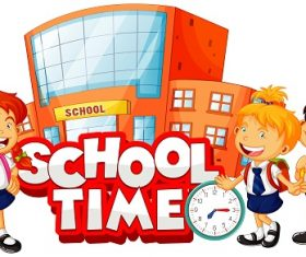 School time logo, kids, school, clock Vector