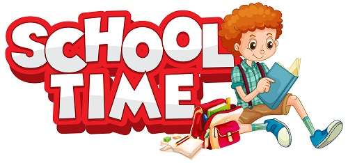 School time logo with kid sitting Vector