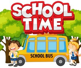 School time logo with kids and school bus Vector