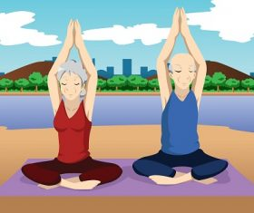 Senior Couple Doing Yoga Exercise Near the Beach Cartoon Background Vector