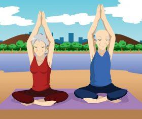 Senior Couple Doing Yoga Exercise Near the Beach Cartoon Background Vector