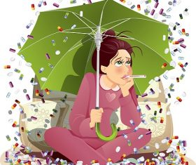 Sick Girl Under Umbrella Cartoon Icon Background Vector