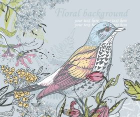 Sitting bird with floral background vector