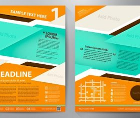 Sky Blue Orange Black Brochure Template Vector