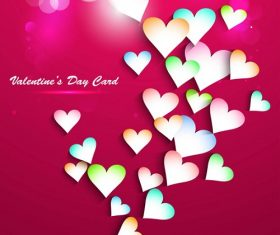 Small Hearts with Red Background Valentines Day Card Vector