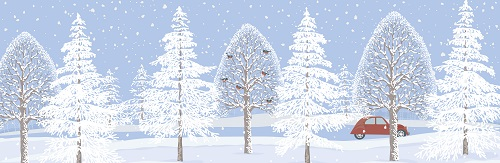 Snowing with trees and car background Vector