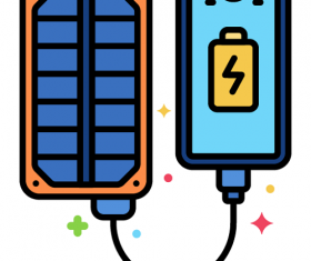 Solar Panel Charger Icon Vector