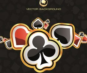 Spade clover diamond heart gold and black background vector