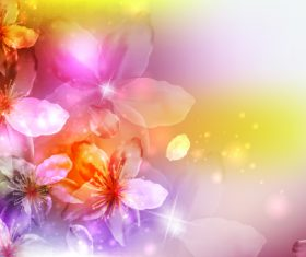Sparking purple yellow flowers background vector