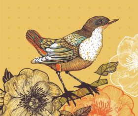 Standing bird on tree with flowers yellow background vector