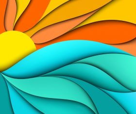 Sun Sea Abstract Background Vector