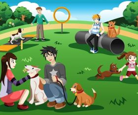Teenager Sitting Chilling in the Park with their Dogs Cartoon Background Vector