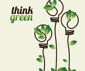 Think Green Label with Light Bulb Plant Background Vector