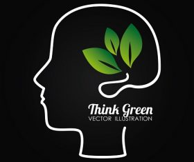 Think Green Mind Silhouette Background Vector