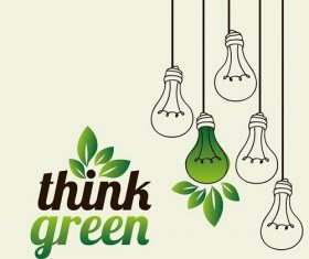 Think Green with One Green Light Bulbs With Background Vector