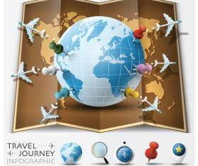 Travel Journey Info Graphic Globe Pins Airplane Vectors