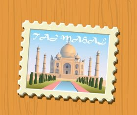 Travel Stamps Taj Mahal Vector