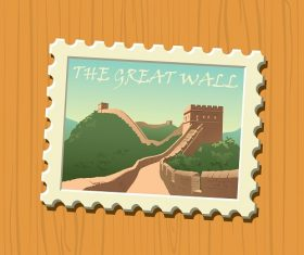 Travel stamps the Great Wall Vector